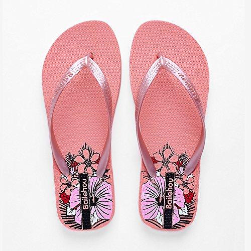 HGTYU-Alla fine dell estate trascinare i campi in gomma resistente all usura Anti Skid Beach Clip piedi ciabatte sandali versione coreana il fiore fragile Pink