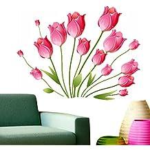Decals Design StickersKart Wall Stickers Pink Tulips Bouquet (Multi-Colour)