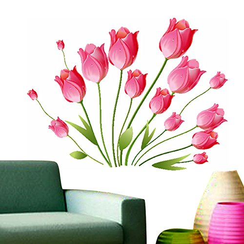 Decals Design 'Tulips Bouquet' Wall Sticker (PVC Vinyl, 50 cm x 70 cm, Multicolour)