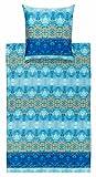 Bassetti Taffeta V3 Mako-Satin Bettwäsche, 200x200 + 2x 80x80, Blau in