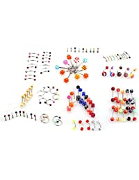 SODIAL(R) LOT 105pcs Barre Clou Piercing Barbell Banane Arcade Anneau pour Langue Nombril Nez Oreilles en Acier Inox Bijoux Multicolore