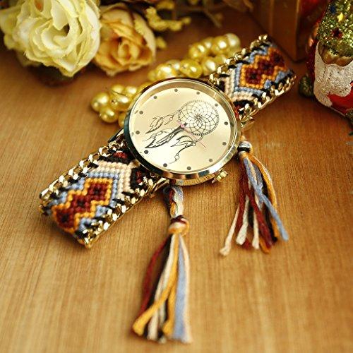 JSDDE Uhren,Damen Ethnisch Dreamcatcher Traumfaenger Freundschaft Braid Armbanduhr gewebte Seil Band Quarzuhr,Orange+Schwarz - 5