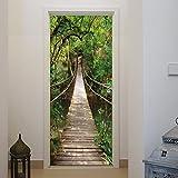 murimage Carta Parati Porta Ponte Sospeso 86 x 200 cm Fiume Legno Foresta Jungle Lago 3D fotomurali Poster Gigante Wallpaper Include Colla