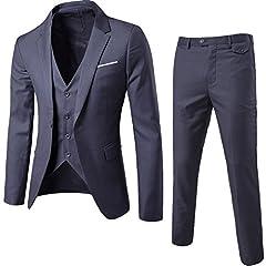 Idea Regalo - ZhuiKun Abito Uomo 3 Pezzi Vestito Completo Smoking Slim Fit Aderente con Blazer, Pantaloni, Gilet Grigio Scuro L