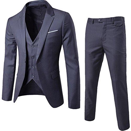 ZhuiKun Herrenanzug Herren Slim Fit 3-Teilig Business Anzüge mit Weste Sakko Anzughose Rauchfarben XL