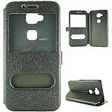 YHUISEN Sólido Cuero Color PU con el caso del soporte del protector del patrón doble ventana abierta seda para Huawei G-7 Plus / G8 / Maimang 4 / D199 (respuesta o rechazar llamadas sin abrir la tapa) ( Color : Black )