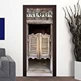 """Yanqiao Adhensive SALOON Door Wall Sticker for Living Room Personality Decoration Removable Vinyl Home DIY Decor,30.3*78.7"""" - Yanqiao - amazon.co.uk"""
