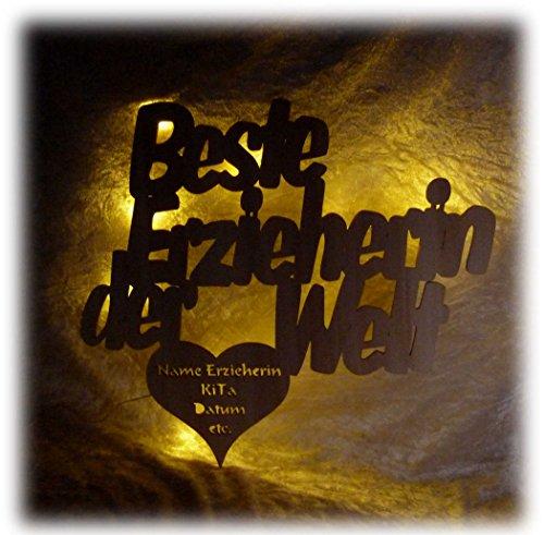 Schlummerlicht24 Led Lampe für die Beste Erzieherin der Welt mit Gravur Text Geschenke zum Abschied aus der Kita Kindergarten Abschiedsgeschenk