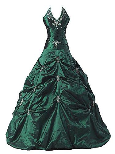Vantexi Damen Taft Halfter Abendkleid Ballkleid Partykleid Smaragd Größe 50 (Grün Partykleid Smaragd)