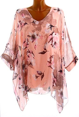 Charleselie94® - Tunique poncho soie bohème chic grande taille rose MIRANDA ROSE Rose