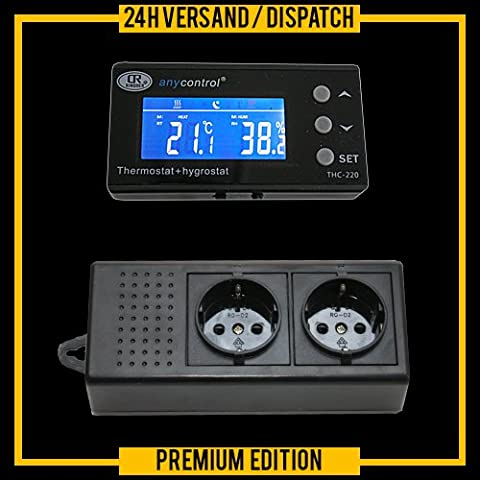 Thermostat + hygrostat 2-in-1 horloge/minuterie/timer alarme jour-/nuit-mode terrarium aquarium *affichage externe* digital TXH