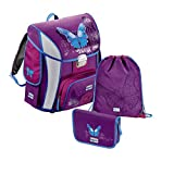 Baggymax Simy Schulranzen-Set 3-tlg. Tornister-Set Butterfly lila