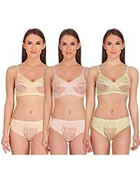 Soft Care Pallavi Lycra Bikini Set (Pack of 3 Colour_Skin,Peach & Lemon)