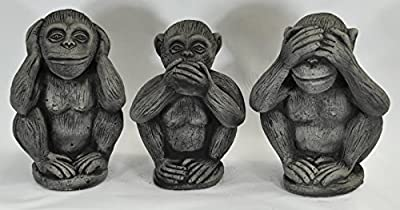 3 Affen Set massiv Nichts sehen hören sagen Glücksbringer Skulptur von Wilai auf Du und dein Garten