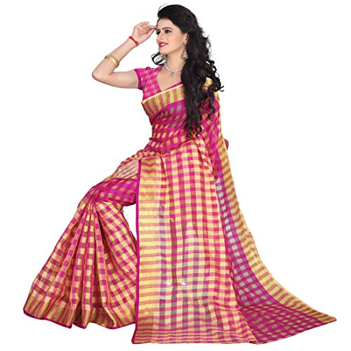 Sarees(Women's Cotton Pink Saree With Blouse Piece)  available at amazon for Rs.199