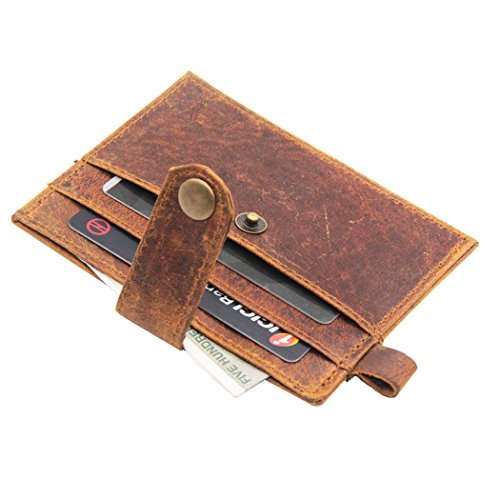 E LV Smart small pocket wallet purse business credit debit card cover case holder genuine high quality leather vintage look - Dark Brown  available at amazon for Rs.199