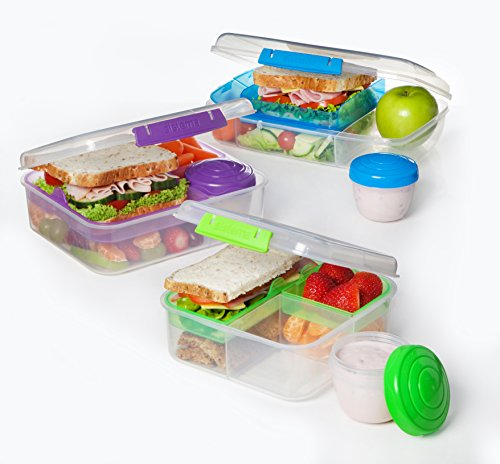 Sistema Bento Cube Box to Go with Fruit//Yoghurt Pot 1.25 L Clear//Blue