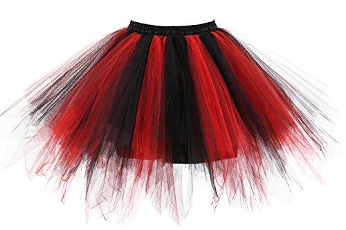 Poplarboy Damen Kurz 50er Vintage Petticoat Mehrfarbengroß Unterröcke Braut Crinoline Ballett Tutu Ball Underskirt Schwarz-Rot (Billig Schwarz Tutu Rock)