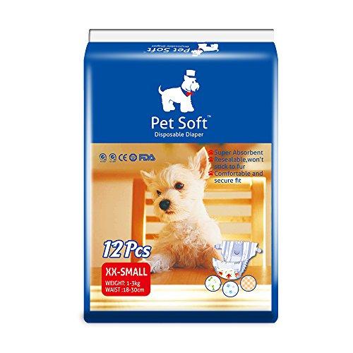 Pet Diaper, Dog Female Diaper, Pet disposable diaper female puppy nappies,super absorption 12pcs XXS, XS, S, M,various pattern (XXS)