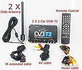 KUNFINE TV Box Fernsehen HDTV Auto DVB-T265 Besondere für Deutschland DVB-T2 H. 265 HEVC Multi PLP Digital TV Receiver Automobil DTV Box mit Zwei Tuner-Antenne freenet
