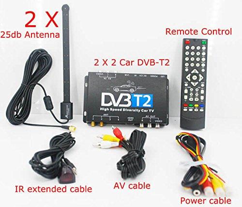dvb t2 receiver auto KUNFINE TV Box Fernsehen HDTV Auto DVB-T265 Besondere für Deutschland DVB-T2 H. 265 HEVC Multi PLP Digital TV Receiver Automobil DTV Box mit Zwei Tuner-Antenne freenet