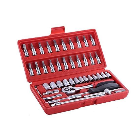 MAF India Professional Tools Drive Socket Set, 46 Pcs Spanner Socket Set 1/4 Car Repair Tool Ratchet Wrench Set Hand Tool