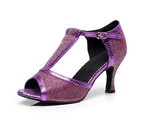 Minitoo qj7026da donna Glitter T-Strap Sala da ballo scarpe da ballo Viola (viola)