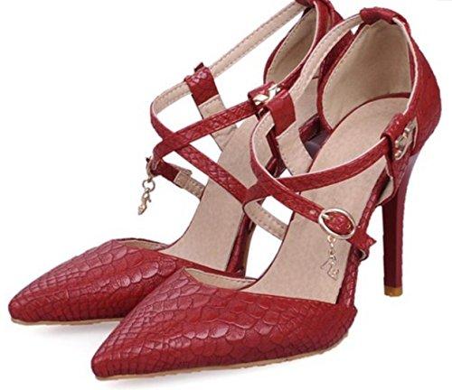 HYLM I sandali femminili nuovi / punta / fine / tacco alto / fibbia trasversale / abiti da banchetto di nozze partito scarpe ufficio Red
