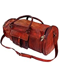 Leather Bag Vintage Genuine 22'' Round Duffle Cum Gym Bag By Pranjals House
