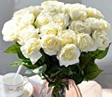 12pcs/lot Real Touch Silk Gluing PU Silk Artificial Rose Flowers Home decorations for Wedding Party or Birthday Garden Bridal Bouquet Flower Saint happy Valentine's Day Gifts Party Event (ivory)