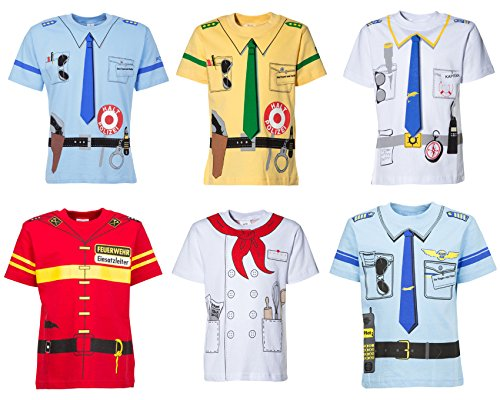 (128/134) 6 Uniform T-shirts, 2 mal Polizei-Feuerwehr-Pilot-Koch-Käpitän im Angebot !!!!!! (Uniform Shirt Pilot)