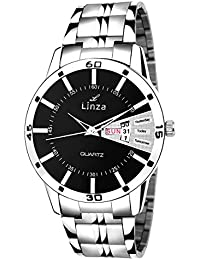 LINZA Analog Black Dial Stainless Steel Day And Date Men's Watch (LZ-BL_09)