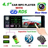 Hoidokly Autoradio Bluetooth 1 Din Universale 4,1'' HD Touch Screen MP5 Player Autoradio Auto Stereo Supporto Bluetooth/2 USB/TF/AUX/FM/AM/RDS/Microfono (con Fotocamera+Telecomando del Volante)
