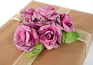Bouquet di rose di carta da musica riciclata realizzato a mano (4.5cm x 4.5cm)