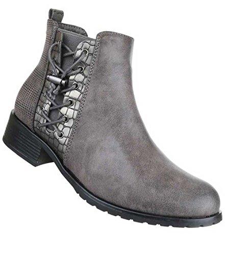 Damen Stiefeletten Schuhe Used Optik Boots Schwarz Grau
