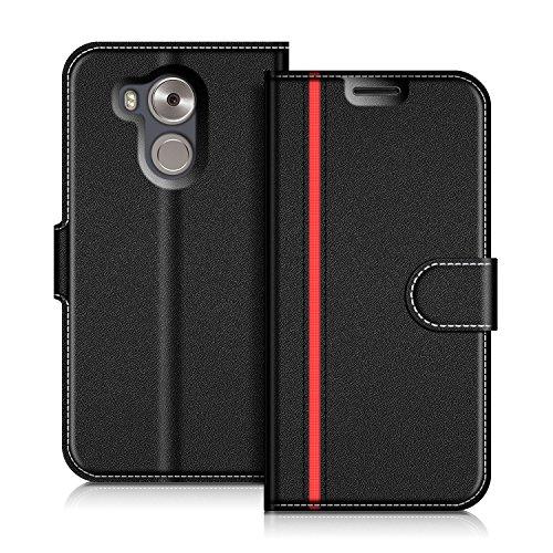 COODIO Huawei Mate 8 Hülle Leder Lederhülle Ledertasche Wallet Handyhülle Tasche Schutzhülle mit Magnetverschluss/Kartenfächer für Huawei Mate 8, Schwarz/Rot