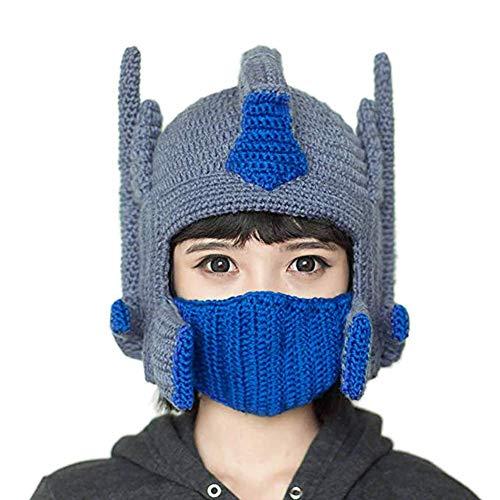 YBBDHD Lustige Optimus Prime Helm Hut Handgemachte StrickmüTzen Masken Warme WintermüTze Ski MüTze Beanie Weihnachten Geburtstagsgeschenke FüR Frauen Caps