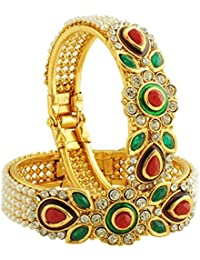 JDX Traditional Wedding Gold-Plated Bangles Bracelets Set For Women And Gilrs