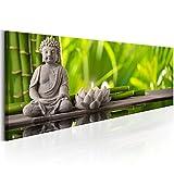 murando - Bilder 150x50 cm Vlies Leinwandbild 1 TLG Kunstdruck modern Wandbilder XXL Wanddekoration Design Wand Bild - Natur Babmus Feng Shui Buddha Kerze Spa grün b-B-0207-b-a