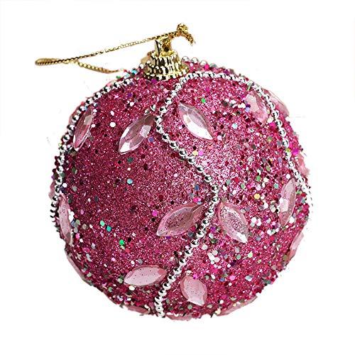 HROIJSL Sticky Diamond Bead Chain gehobene Weihnachtskugel Weihnachts Rhinestones Glitter Baubles Ball Weihnachts Baumschmuck 8cm