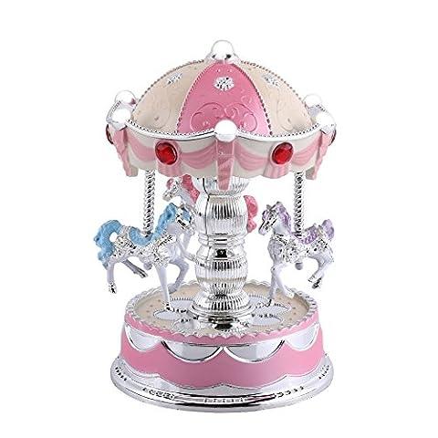 Boîte À Musique Tournante Cheval Carrousel Boîte À Musique Jouet Jeu Avec LED Lampe Lumineux Cadeaux Creatif D'anniversaire De Noël Saint-Valentin ( Couleur : Rose