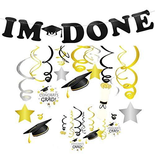 er Party Dekoration Set Banner hängende Wirbel Folie Strudel Star Cap 2019 Graduation DekoSet Fotorequisiten für College Grad, High School,Senioren Party Decor ()