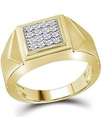 Yellow-tone Argent sterling pour homme Diamant rond Croix carré Mode Bague 1  5 e9229e7ebd85