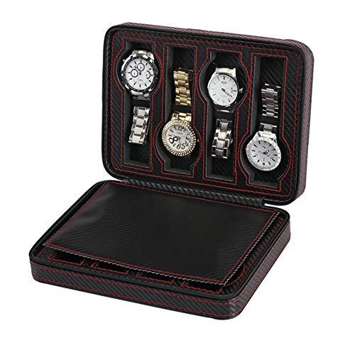 ColorYan Hause Elegante Tragbare Reißverschluss Nähte Uhrenbox 8 Slots Halter Display Speicherorganisator Fall Collector Bag Schwarz Männer Frauen Schmuck Halter Geschenk