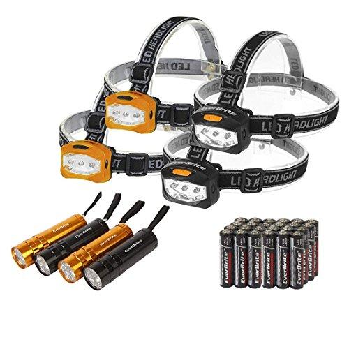 EverBrite Ensemble de 4 Lampes Frontales LED et 4 Mini Torches de Poche, Piles AAA Compris