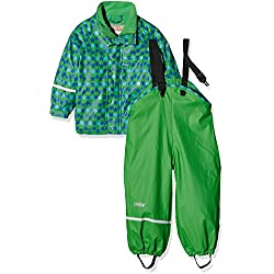 CareTec Kids Set Of Waterproof Rainjacket & dungaree trousers , Green (Grün 974), 92