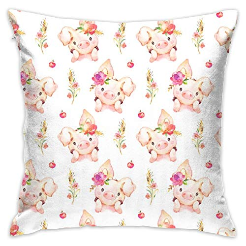 Hunter qiang zierkissenbezug 45x45 Fräulein Ferkel - Baby Girl Pig with Flowers U0026 Äpfel - GRÖSSER Scale_4205 100% Baumwolle, Wohnzimmerdekoration, Heimsofa, Büro, Auto.
