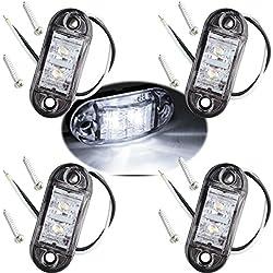 Fushengda 4pcs Blanc IP6512V/24V Ovale LED latérales Feux de gabarit Avant Feux arrière Lampes Universel Indicateur de Position pour Camion remorque Van Caravan Camion de Voiture Bus Bateaux