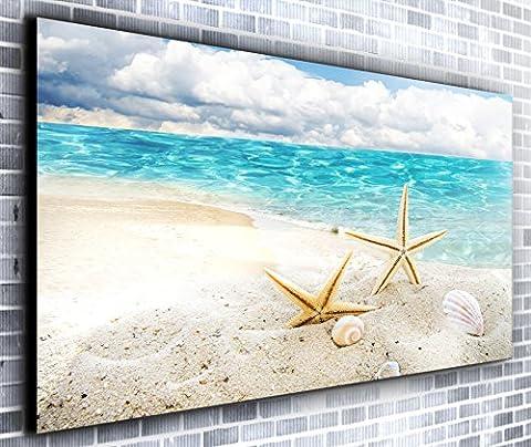 Paradise Island coquillages Décor panoramique encadrée Impression sur toile Art mural XXL 139,7x 61cm de plus de 1,4m de large x 0,6m haute prête à suspendre Impression sur toile–Paysage Photographie–Art moderne