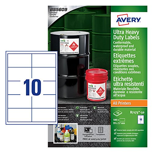 Avery B7173-50 Extra Strong Adhesive, Ultra Heavy Duty Industrial Waterproof GHS Labels, 10 Labels Per A4 Sheet - Best Price
